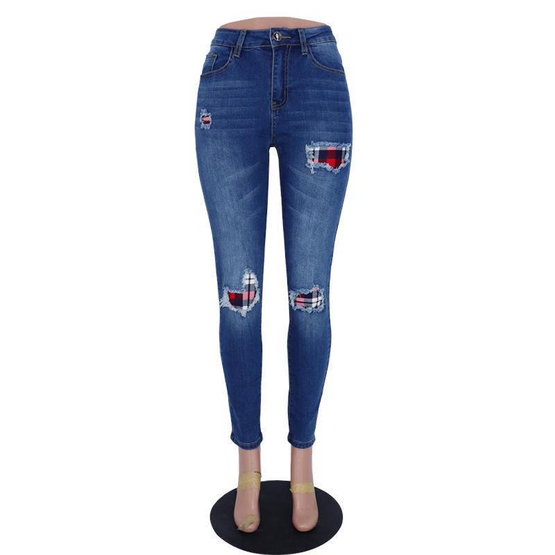 2020 Printemps de haute qualité pour femmes Denim Pantalons Jeans Ripped article 159-C