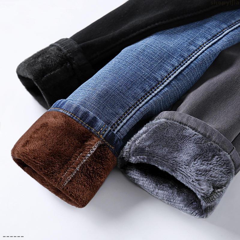 Fidanzato jeans per le donne Gli studenti inverno più velluto Jeans Donna Casual Warm vita alta Stretch Streetwear autunno