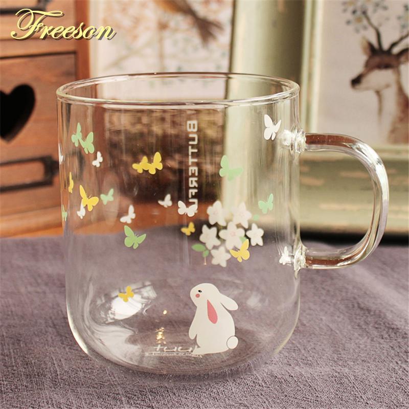 Kawaii farfalla Bunny tazza di tè sveglio del coniglio di vetro tazza di caffè di resistenza al calore della tazza di caffè di Zakka Tazza da tè 370ml tazza di birra