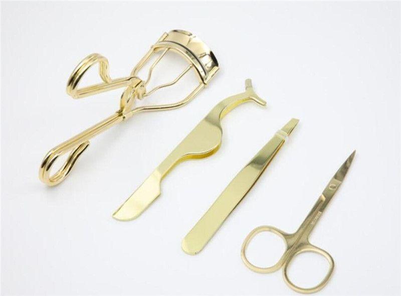 DHL expédition New or coloré en acier inoxydable Sourcils Scissor 3d Mink Brucelles Cils Cils Bigoudi Set Maquillage de coupe des cheveux Scissor