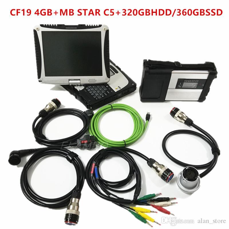 MB Estrela C5 2019 SD Connect C5 com mais recente ferramenta de diagnóstico ssd v2019.9 hdd com toughbook CF19 4g Laptop para carros mb