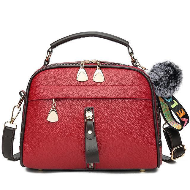Handtaschen Frauen Leder-Handtaschen-Schulter-Dame Umhängetasche Reißverschluss Hair Frauen Kleine Messenger Bags Bolso Mujer