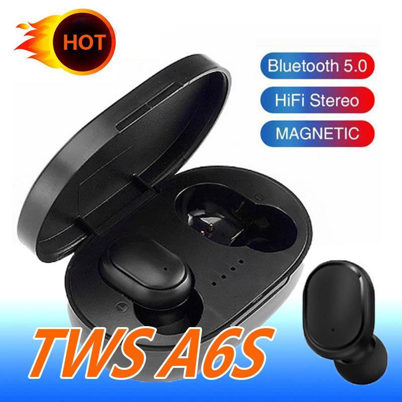 1 PCS auricular de Bluetooth A6S TWS En la oreja los auriculares inalámbricos estéreo bajo auriculares auriculares para Samsung LG con Box
