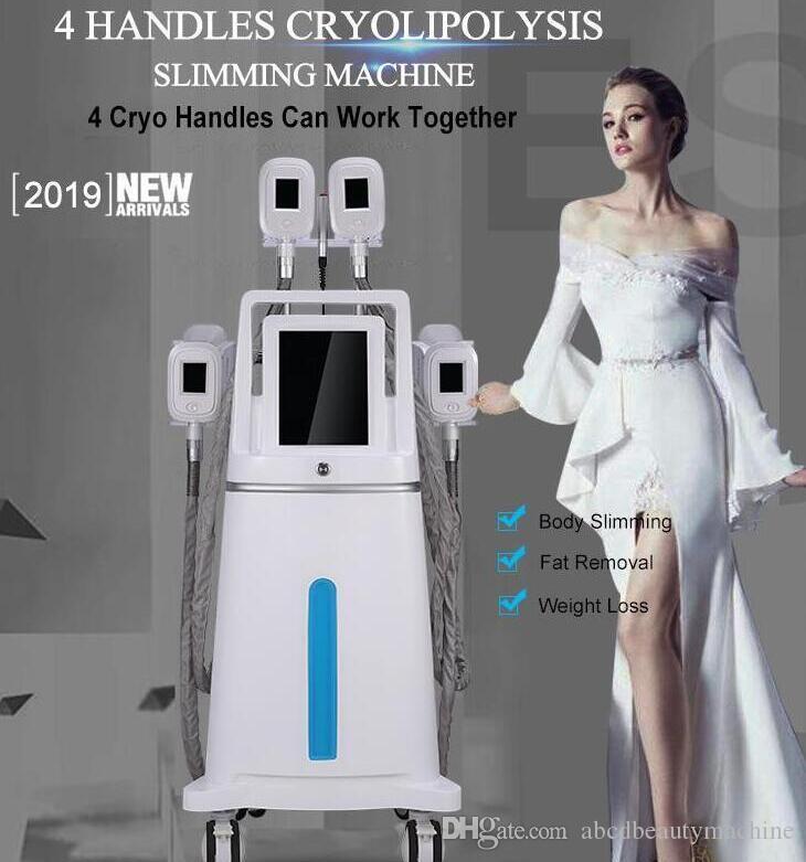 4 nouveaux poignées 2019 travaillant ensemble Cryolipolysis + Cavitation + RF + LipoLaser graisse multifonction Ultracavitador gel minceur machine