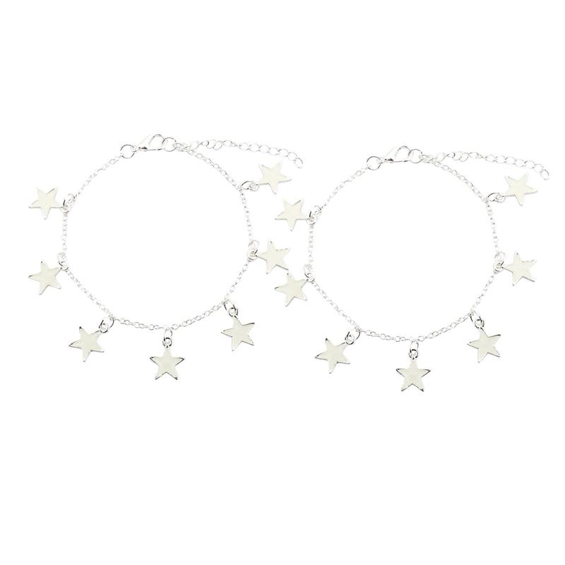 Bracciale in lega 2pcs braccialetto fluorescente stella con i gioielli che brillano nel Dark Silver - Luce verde + Light Giallo Blu + Verde