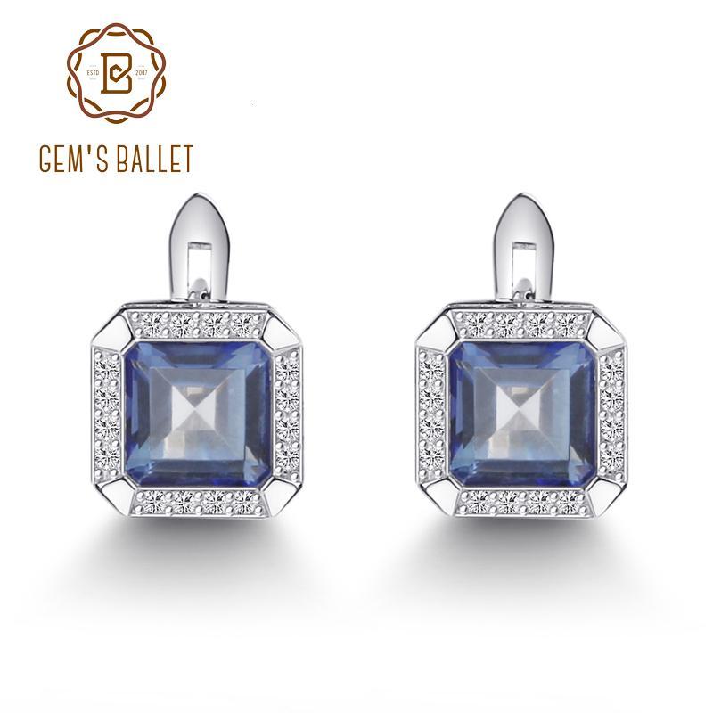 Gem's Ballet 3.77Ct Natural Iolite Blue Mystic Quartz Gemstone Clip Earrings 925 Sterling Silver Fine Jewelry For Women CJ191128