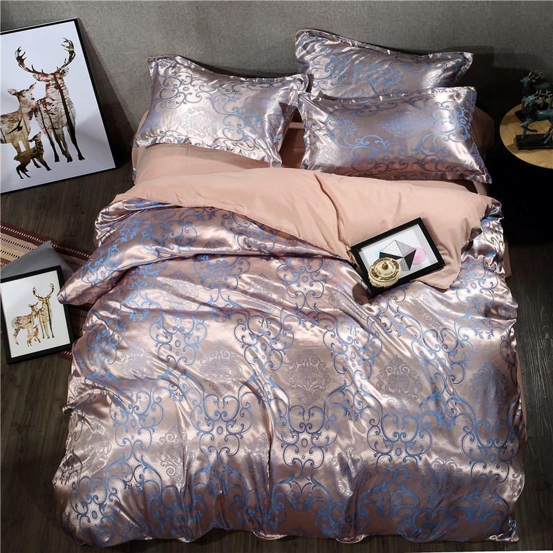 Europe Style Satin Jacquard Bedding Sets Bed Linen Pillowcase Duvet Cover Set Twin Queen Size 4pcs  Satin Bedding Sets