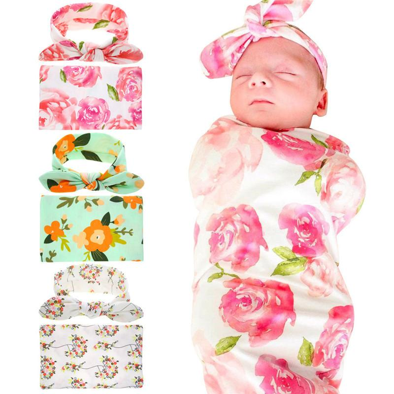 Newborn Baby Swaddles Blankets Wraps + Bunny Ears Headbands 2 Pieces Set Swaddlling Photo Wrap Cloth Floral Flower Nursery Bedding D3510