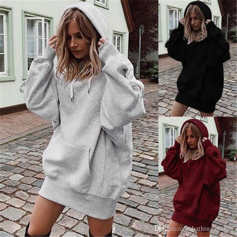 Couleur Femme Automne Casual Designer Hoodies Mode épaissie solide Oversize pull avec capuche Hoodies Street Style Femmes Hoodies