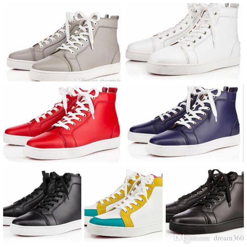 Fashion Women and Men Red Bottom Shoes Red Sole Genuine Leather Walking Flat Shoes Party Footwear High Top Sneaker Casual Shoes