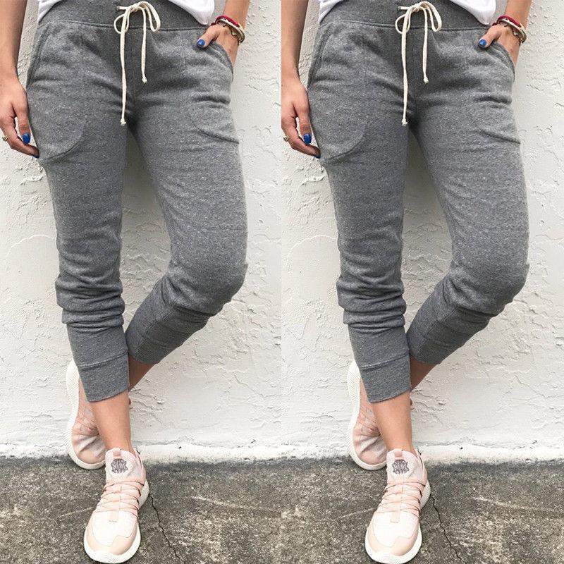 Nouveau Femmes Casual Hip Hop Sarouel Pantalon Capris Pantalons Pantalons de survêtement Casual Femmes Longueur Neuf Pantalon Pantalon Élastique