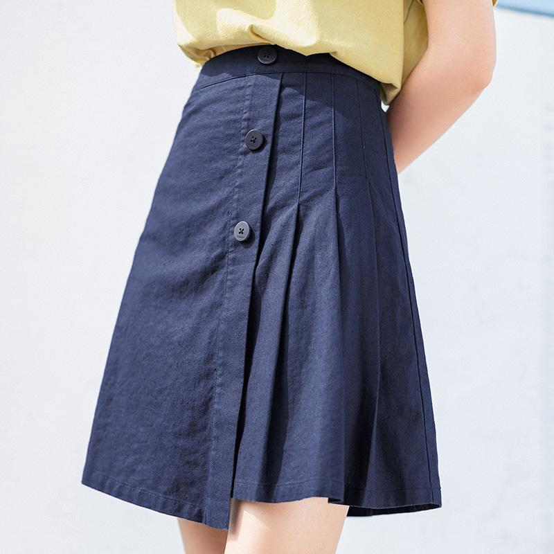 INMAN 2020 Summer New Arrival Literary High Waist Cotton and Linen Asymmetric Pleated Skirt