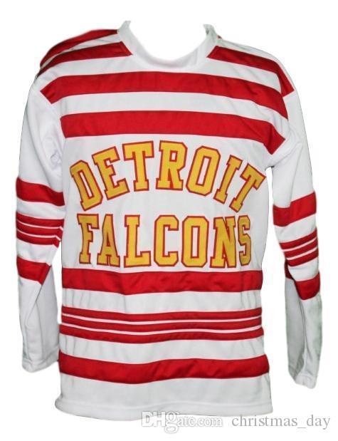 Cucito su misura Detroit Falcons Retro hokey Jersey New Bianco Aurie Personalizzata punto qualsiasi numero qualsiasi nome Mens Hockey Jersey XS-5XL