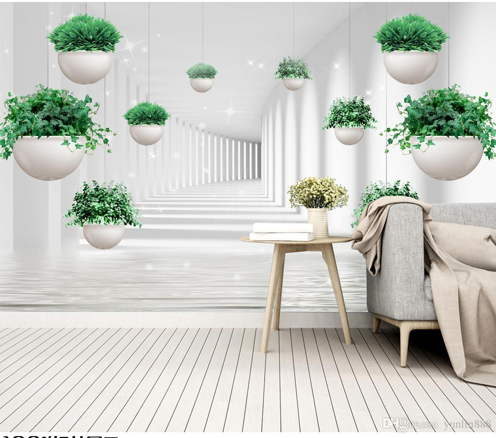 2019 New 3d Wallpaper Mural small fresh hanging plant space living room TV background wall beautifully decorated wall paper