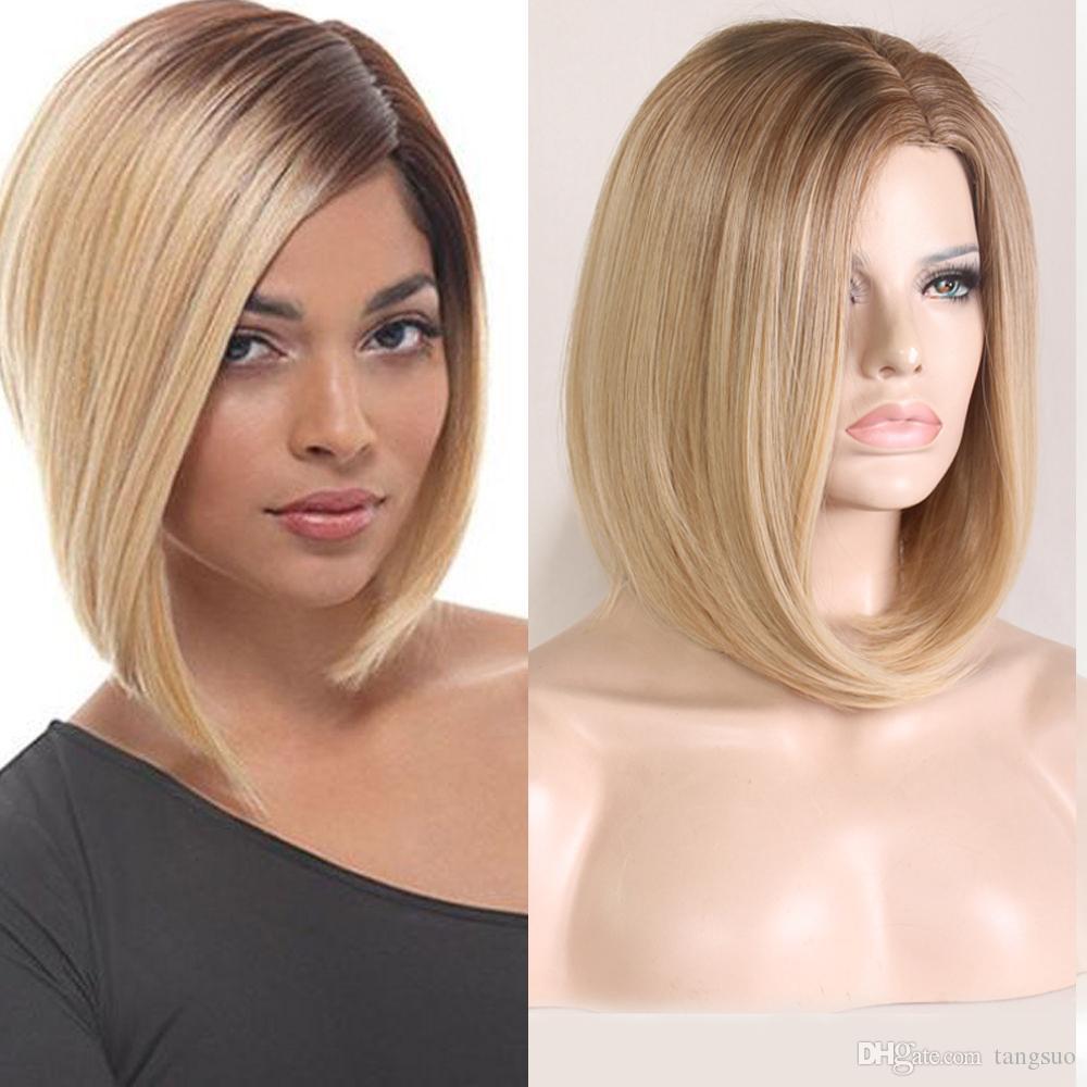 Frauen Medium gerade synthetische Perücke kurz Carve Flaxen Gold-Gradient BOBO Hitzebeständige Cosplay Perücken Ombre Farbe Gefälschte Bobo Haar Caps