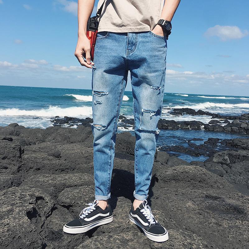 Pop2019 European Trend Personality Pattern Men's Wear Summer Man Thigh Knee One Word Holes Cowboy Nine Part Pants