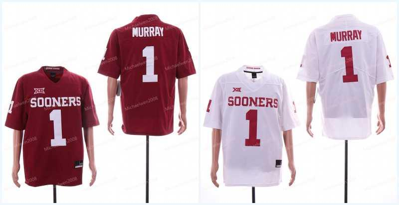 1 Kyler Murray Mens 2018 NCAA Oklahoma Sooners Jersey Rosso Bianco Limited cucito College Football Jerseys