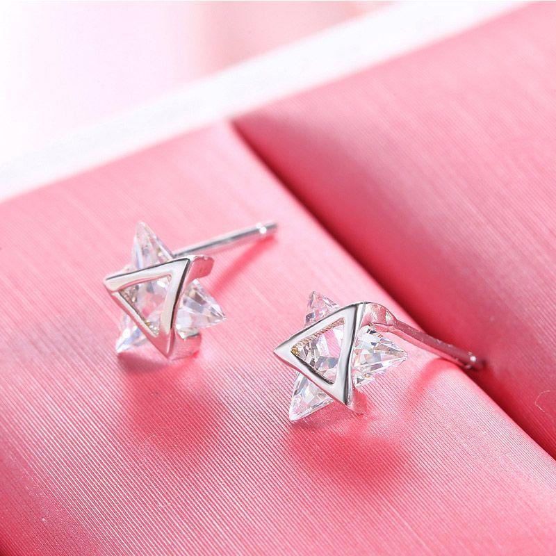 925 sterling argento mini orecchini triangolo semplice temperamento orecchini orecchini donne gioielli femmina regalo di compleanno Brinco