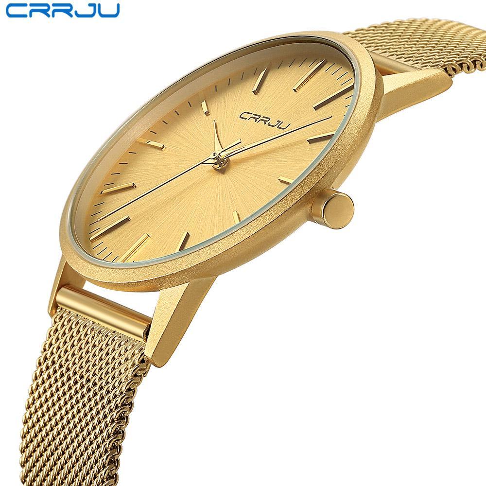 Adam Casual Saatler Hediye Saat için Relogio Masculino CRRJU Erkekler Altın İzle Erkek Paslanmaz Çelik Kuvars Altın İnce saatı