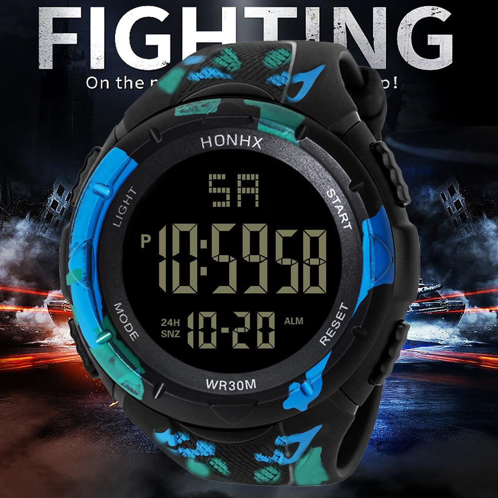 Men Male Wrist Watch Led Digital Date Military Sport Rubber Alarm Waterproof Moment Clock Watches Gift Whosales Dropshipping