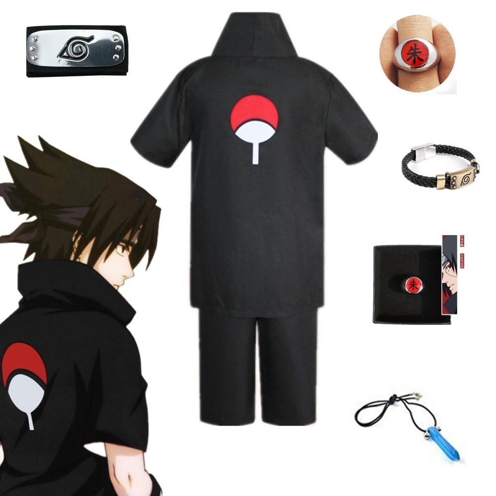 Shirt Sasuke Uchiha Cosplay del partito di Halloween unisex Giappone Anime Naruto nero a maniche corte costume Pantaloncini fascia Full Set