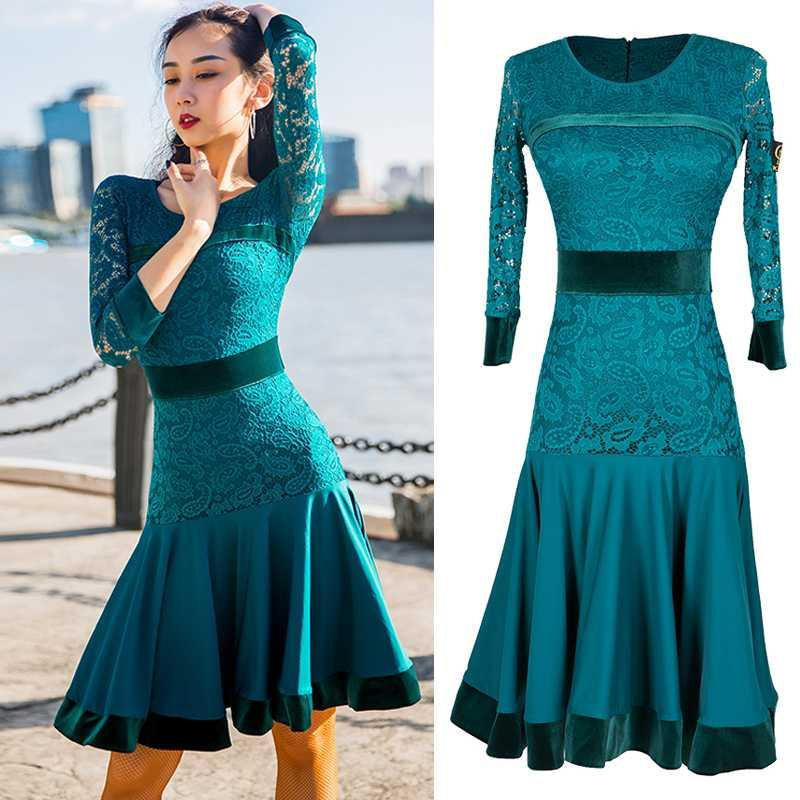 Sahne Giyim Latin Dans Elbise Kadın Yeşil Dantel Dans Yetişkin Uzun kollu Sonbahar Kadın Kadife Büyük Salıncak Etek