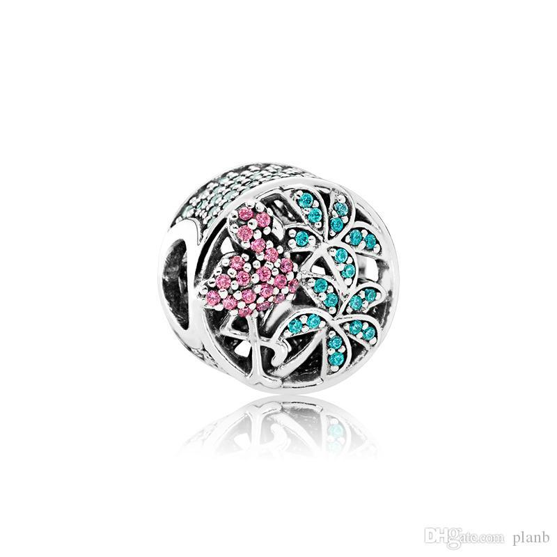 Authentic 925 Sterling SilverJungle Flamingo Charms Original box for Pandora European Bead Charms for jewelry making accessories