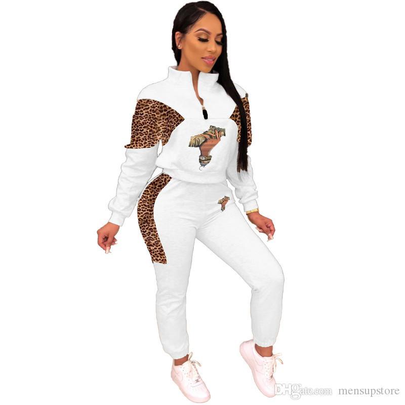 Les femmes sexy 2cps Tenues Automne Printemps Designer imprimé léopard à capuche Pantalons Vêtements Set
