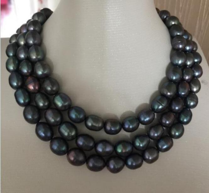 Jewelryr Pearl Necklace stunning11-12mm tahitian baroque black blue pearl necklace 38inch Free Shipping