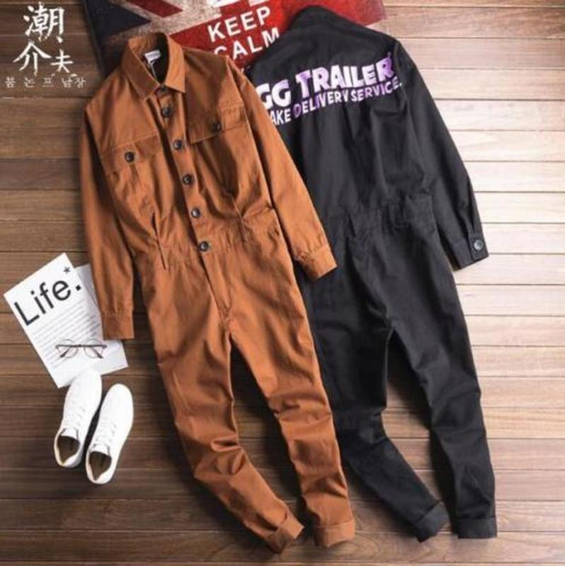S_4XL Mens Overall-Revers-Knopf-unten Stickerei Letters Spielanzug-lange Hosen-Overall-Sleeves Slim Fit Plus Size