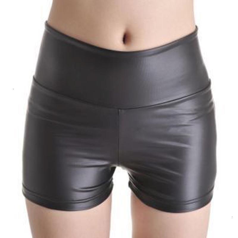 Pantalones cortos para mujer de las mujeres pone en cortocircuito atractivo delgado de cuero de la PU Nueva Otoño Invierno alta cortocircuitos de la cintura del punk rock Negro 70591