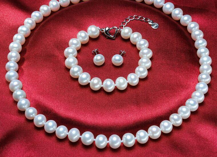 Sätze von 10-11mm Südsee runde weiße Perle necklacearring Armband 925s