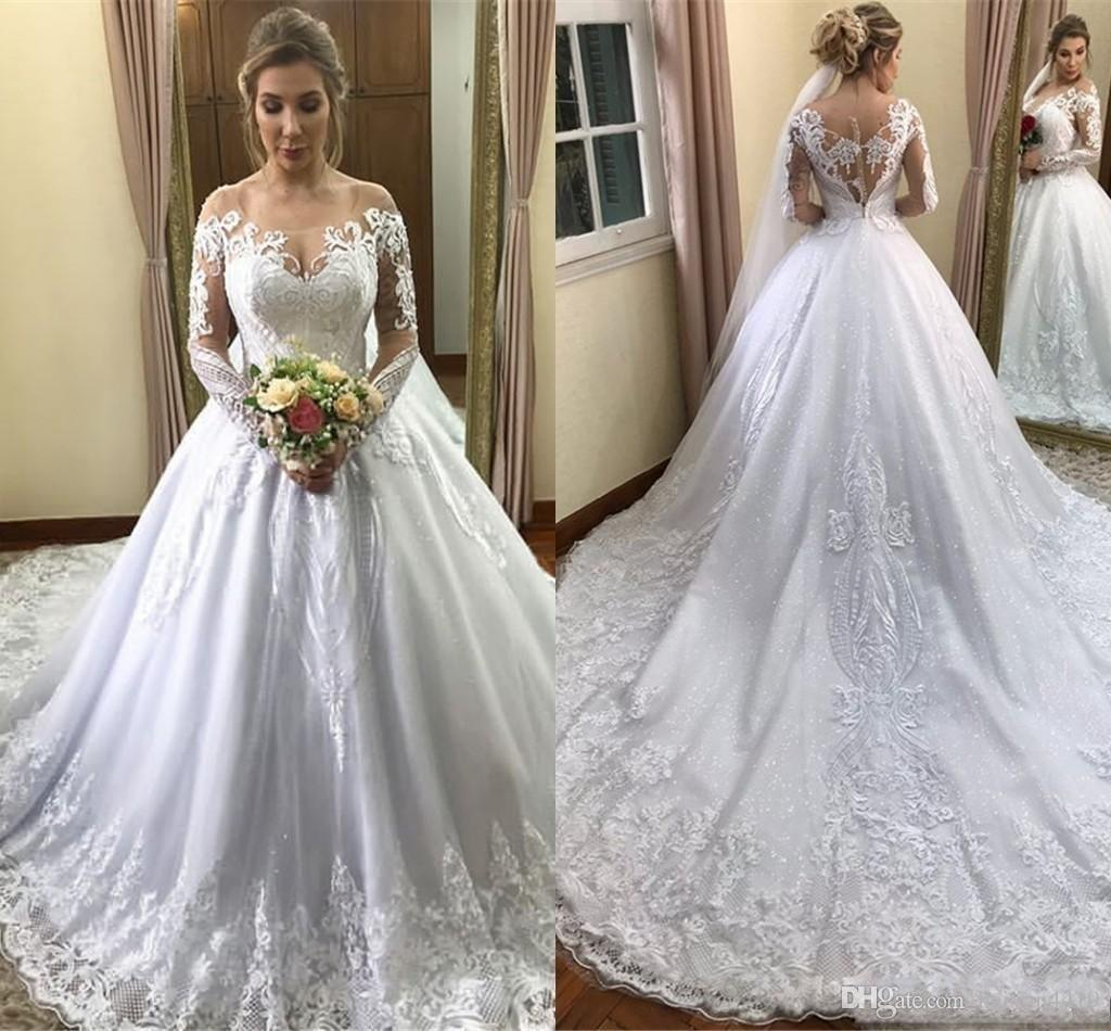 2019 New Arabic Luxury Ball Gown Wedding Dresses Sheer Neck Off Shoulder Long Sleeves Puffy Court Train Plus Size Custom Formal Bridal Gowns