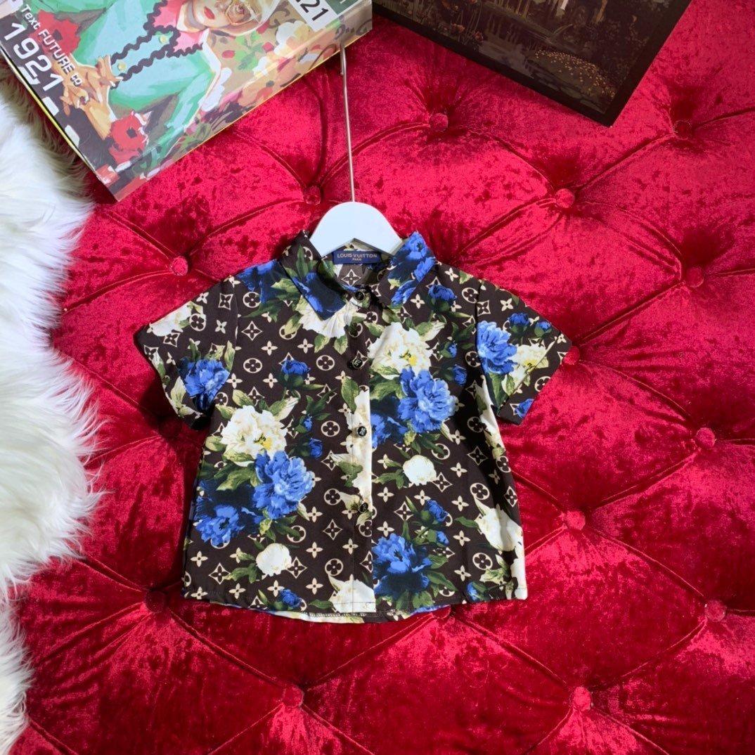 Yaz Yeni Desen Çocuk Giyim Pamuk Kısa Kollu Yaka gömlek Baskı erkek giyim 032803