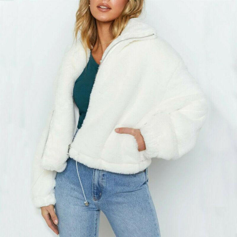 İmcute Yeni Moda Bayan Uzun Kollu Katı Kürk Ceket Lddies Dış Giyim Casual Tops Triko Kabarık kat kış sıcak hırka