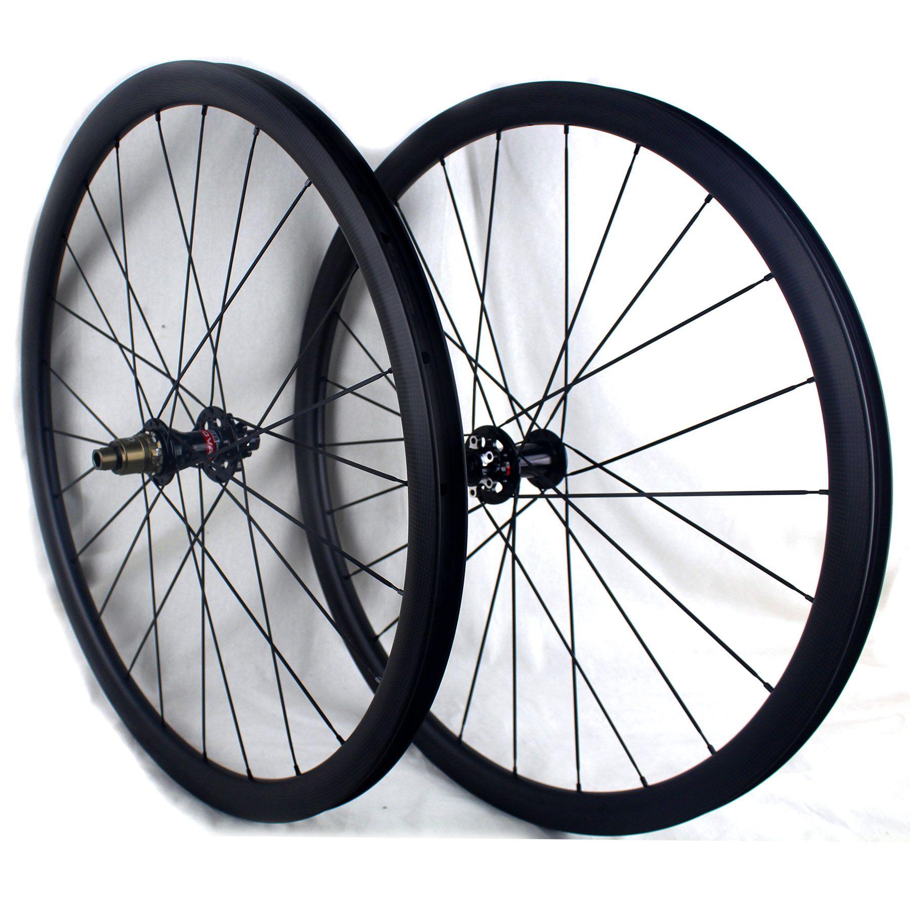 Ruote della strada del freno del disco del carbonio 38 50 60 mm Clincher 700c Tubeless pronto bicicletta di carbonio Ghiaia xc cyclocross wheelset 3k opaco