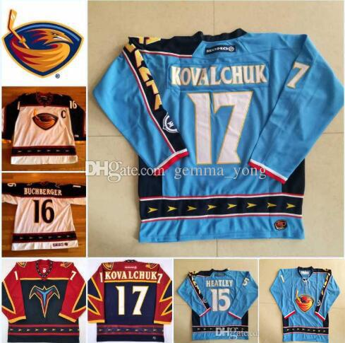 Custom Vintage 17 Ilya Kovalchuk Atlanta Thrashers Camisetas de hockey 15 Dany Heatley 39 Tobias Enstrom 16 Marian Hossa Ice Jersey Tamaño S-XXXL