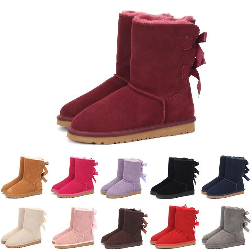 Çocuklar Bailey 2 Yaylar Boots Gerçek Deri bebekler Kar Boots Katı Botaş De nieve Kış Kız Ayakkabı Bebek Kız Botlar