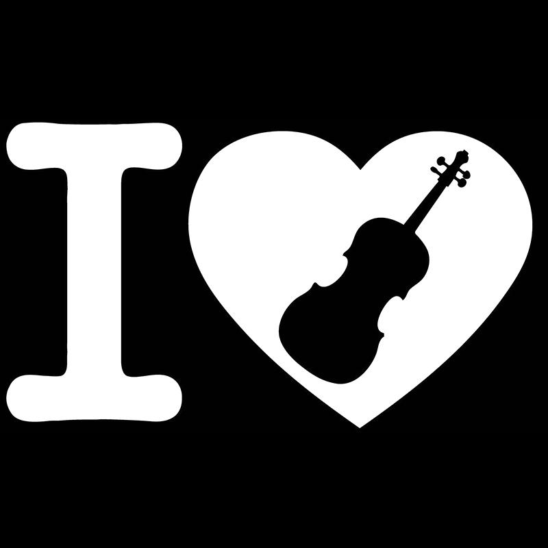 Great for violinist I heart or love violin decal or sticker or musician.