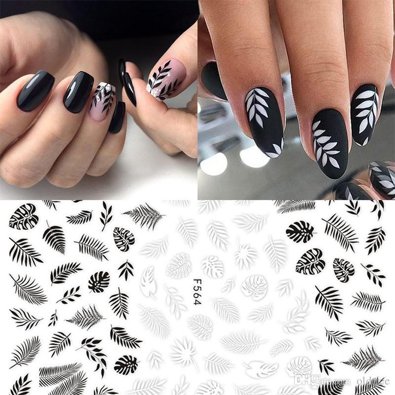 Pegatinas de belleza para Diseños de Uñas Blanco Negro Flor Hoja Linear Manicure Sliders 3D Nail Art Decoraciones pegatina Decal