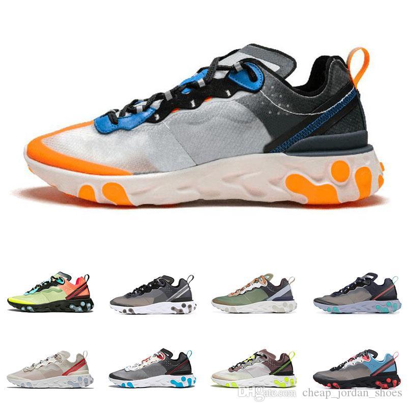 Nike React Element 87 55 chaussures de course pour homme, femmes Gris foncé noir rouge Anthracite Royal Tint Mode Baskets Baskets Légères