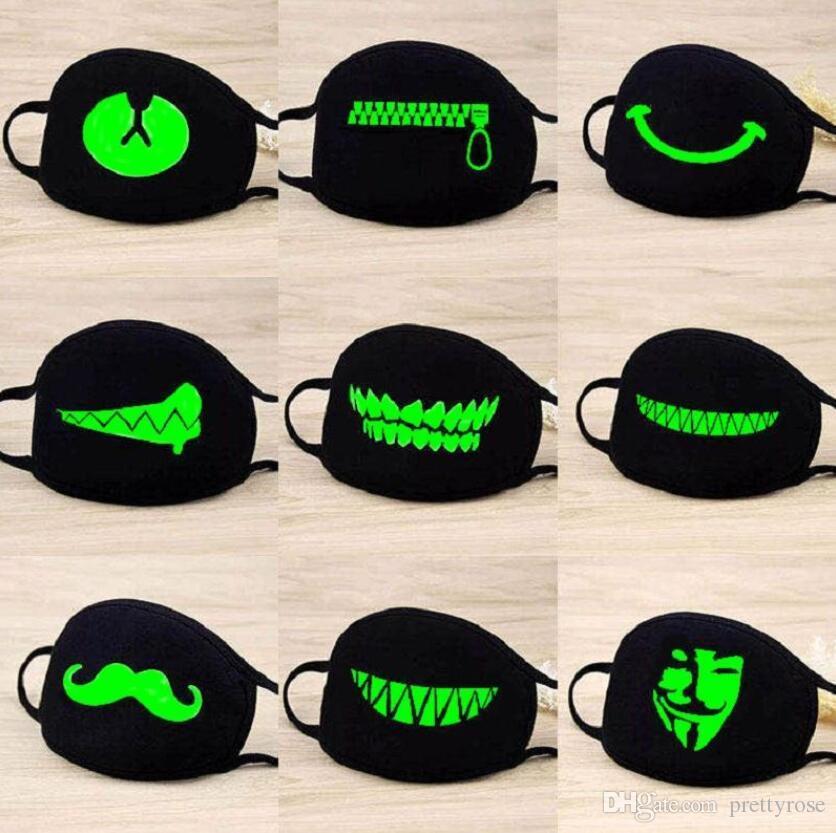 maschere panno nero lavabile traspirante unisex fumetto del fronte luminoso LED Mask Resuable cotone bocca maschera le mascherine del partito di Halloween