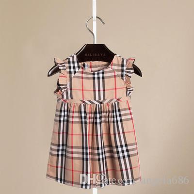 Vestidos de niña a cuadros Ropa para niños europeos y americanos Vestido de verano 19ss Vestido para niños Vestido de algodón para niñas Vestido de princesa