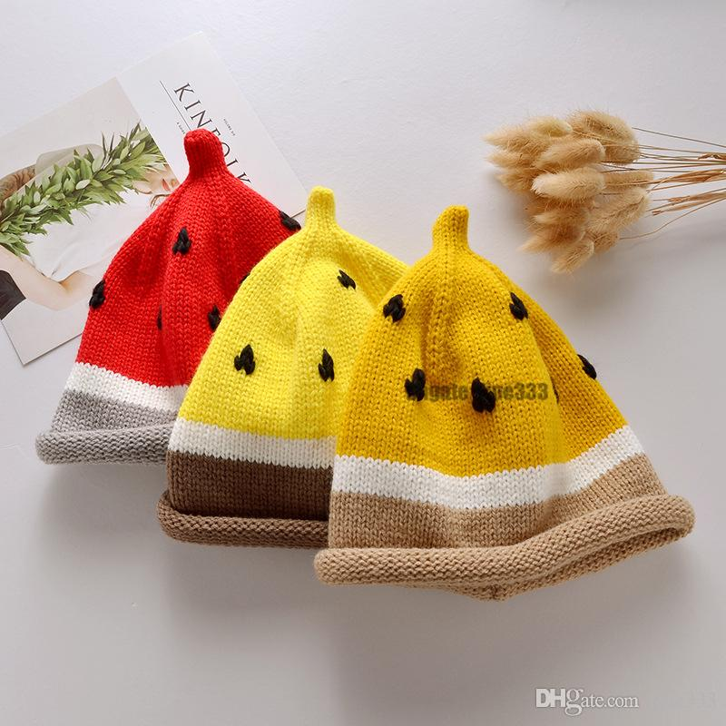 New Toddler Kids Girl Boy Watermelon Hats Baby Infant Winter Warm Crochet Knit Hat Adjustale Beanies Cartoon Cap