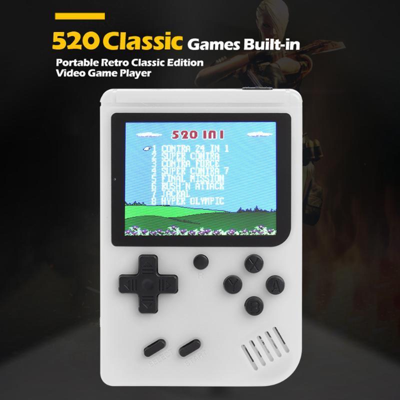 Powkiddy Q3 3.0 polegadas tela LCD retro Handheld Game Console Mini 8 Bit Video Game Jogador Gamepad Built-in 520 Jogos clássicos