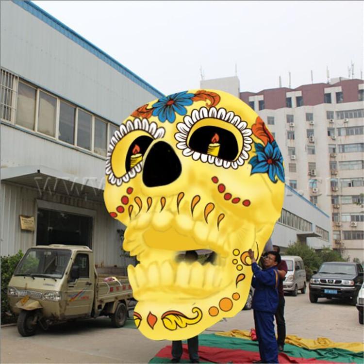 Вися раздувная голова призрака черепа освещения для парада фестиваля деко Хеллоуина партии клуба раздувная двигая голова черепа