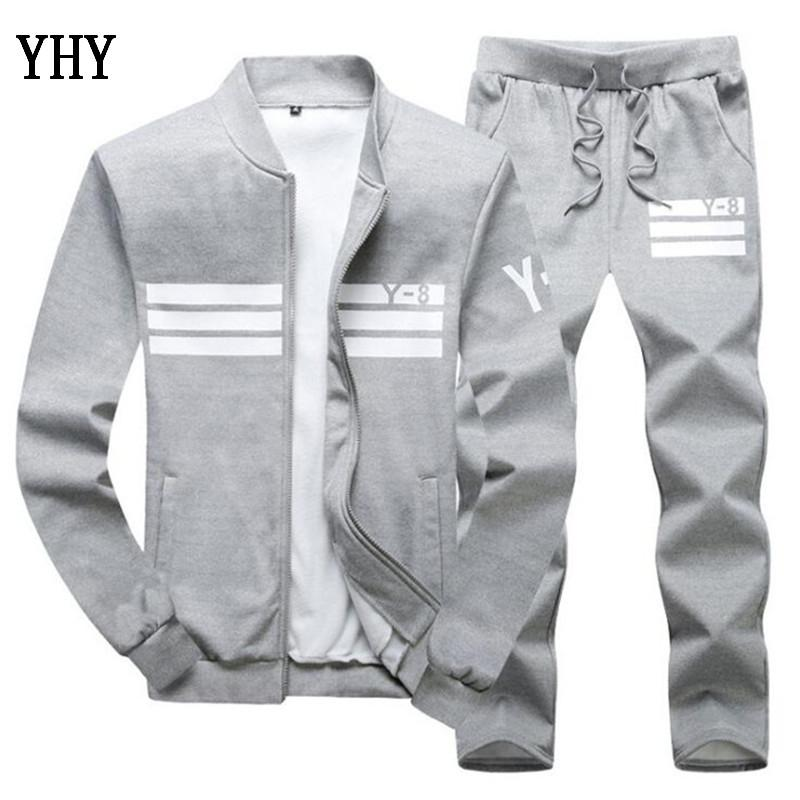 Men Sportswear Set Brand Mens Tracksuit Sporting Fitness Clothing Two Pieces Long Sleeve Jacket + Pants Casual Men's Track Suit TZ-3