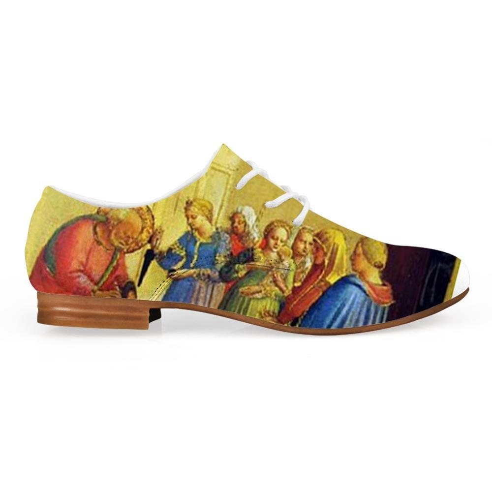 Hard-Wearing Synthetic Leisure Leather Men Lace-up Shoes Christ Painting Art Print Oxfords Shoes Man Platform