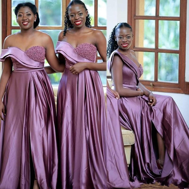 Sexy Bridesmaid Dresses One Shoulder Pearls A Line Wedding Guests Dresses High Split Formal Maid of Honor Dress Party Evening Gown