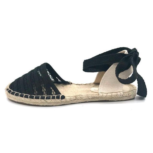 Sandalias planas para mujer Zapatos de alpargata 2019 Zapatos casuales de verano Mocasines Mujeres Sandalias con correa en el tobillo Malla Zapatos de cáñamo blanco